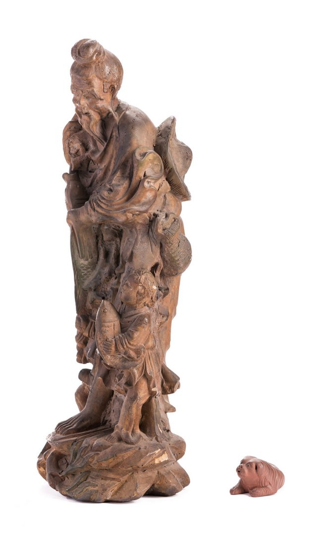 Lot 146: Chinese Painted Clay Figural & Yixing Dog