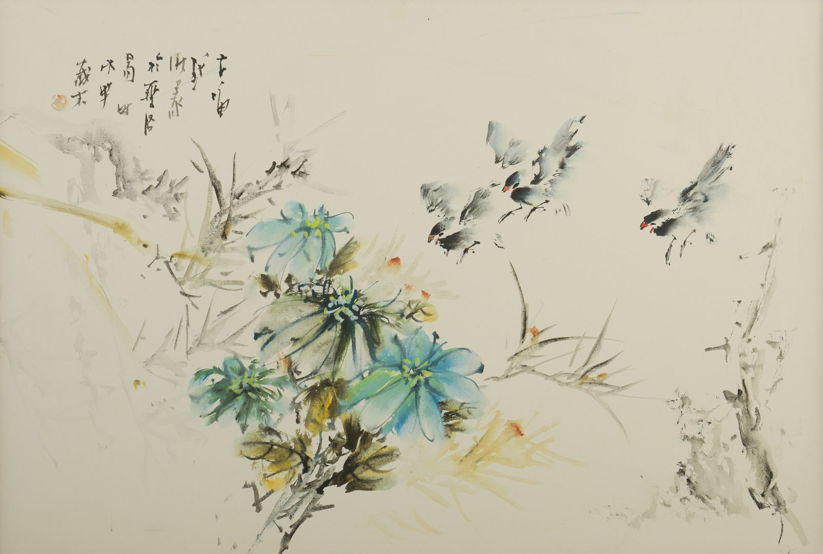 Lot 151: John Chi, O/C, Birds & Flowers