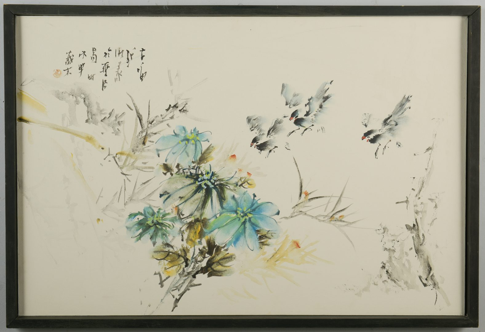 Lot 151: John Chi, O/C, Birds & Flowers