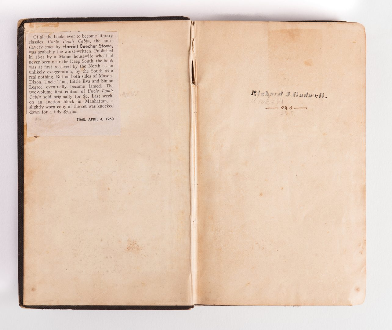 Lot 157: Stowe – Uncle Tom's Cabin, 2 vols, 1852