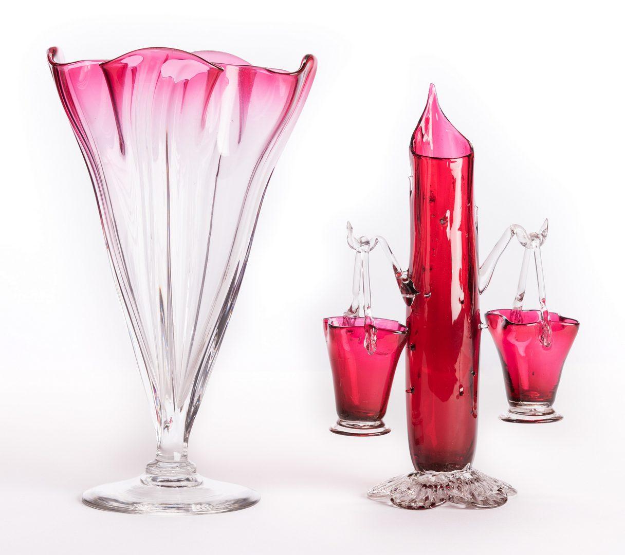 Lot 15: Steuben Grotesque Vase w/ Thorn Branch Form Vase w/ Baskets