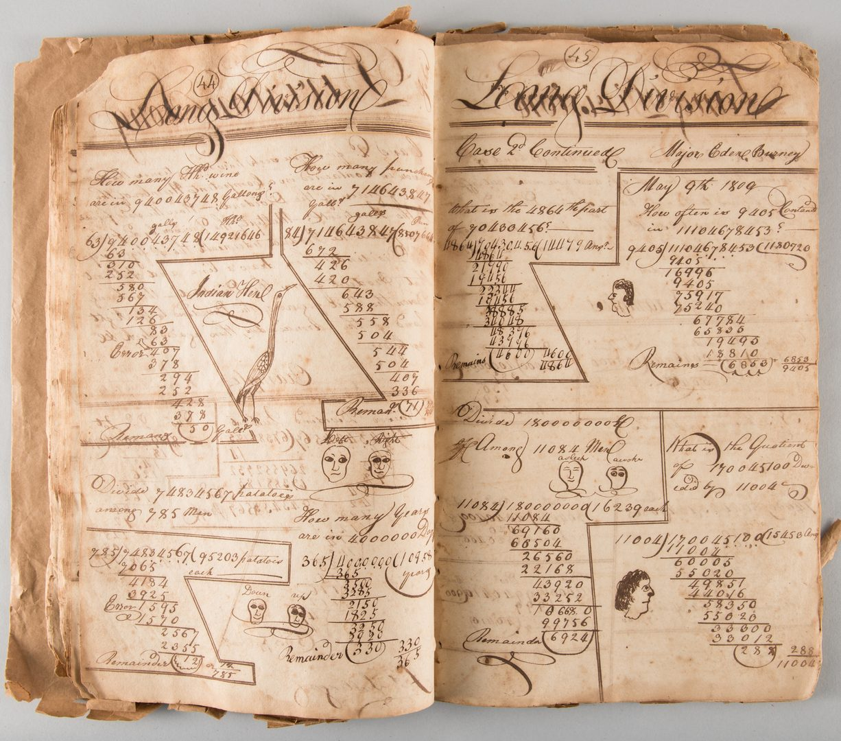 Lot 163: Early Handwritten Arithmetic Textbook