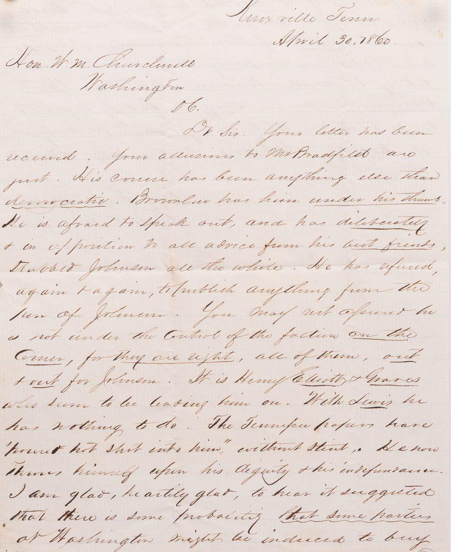 Lot 165: 4 19th cent. East TN Letters, inc. Charlton, J. Dickson