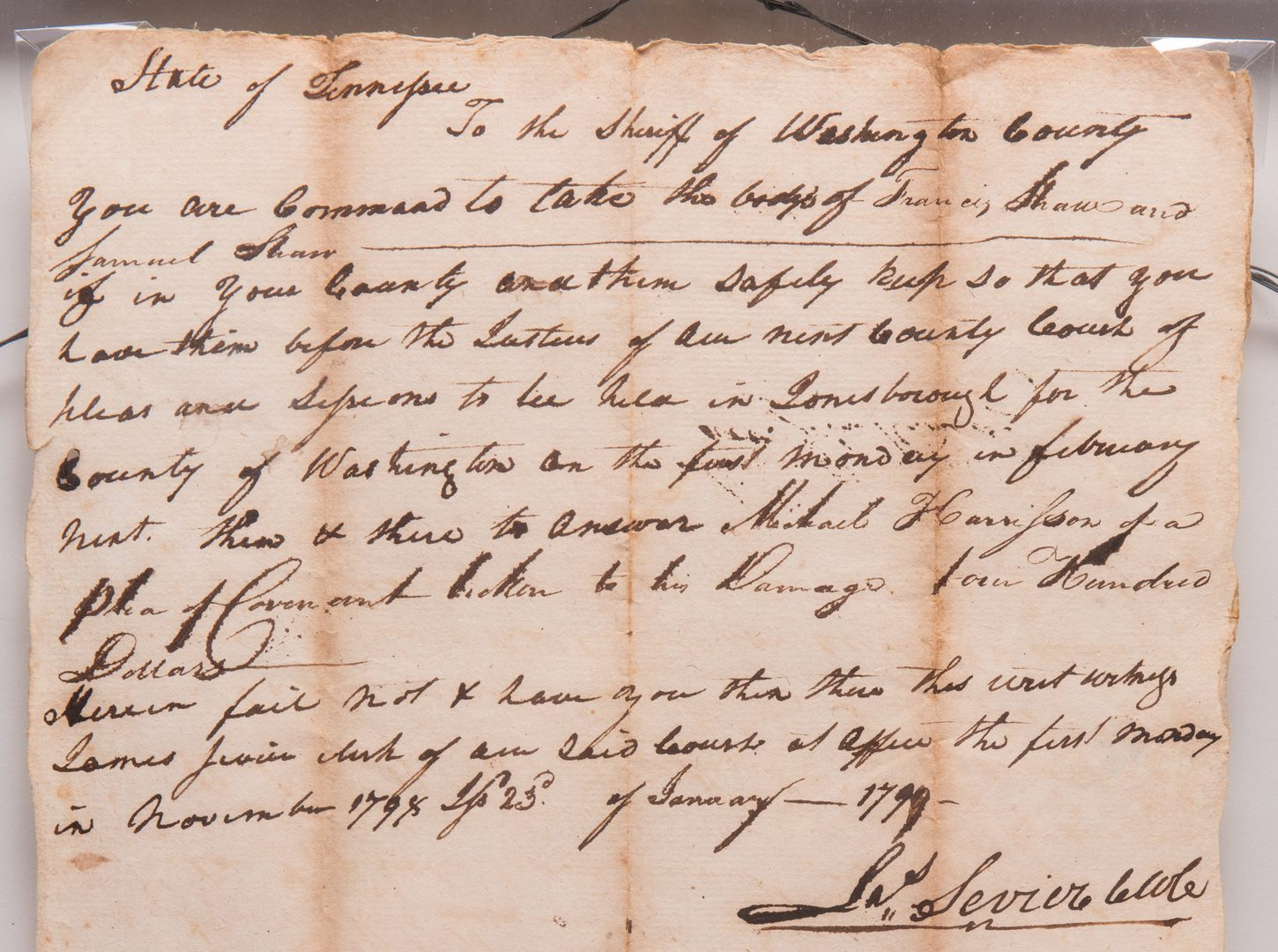 Lot 166: 4 East TN Documents, inc. Jas. Sevier