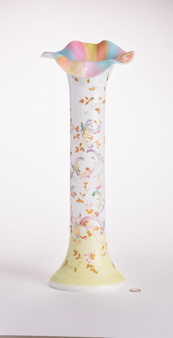 Lot 16: Attr. Mount Washington Rainbow Enameled Vase