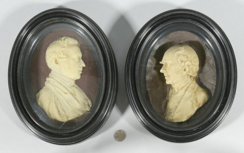 Lot 182: Pr. 19th c. Wax Portraits