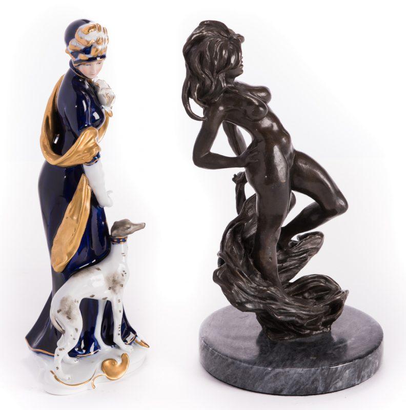 Lot 185: 2 Continenetal  Female Figures, Bronze & Porcelain