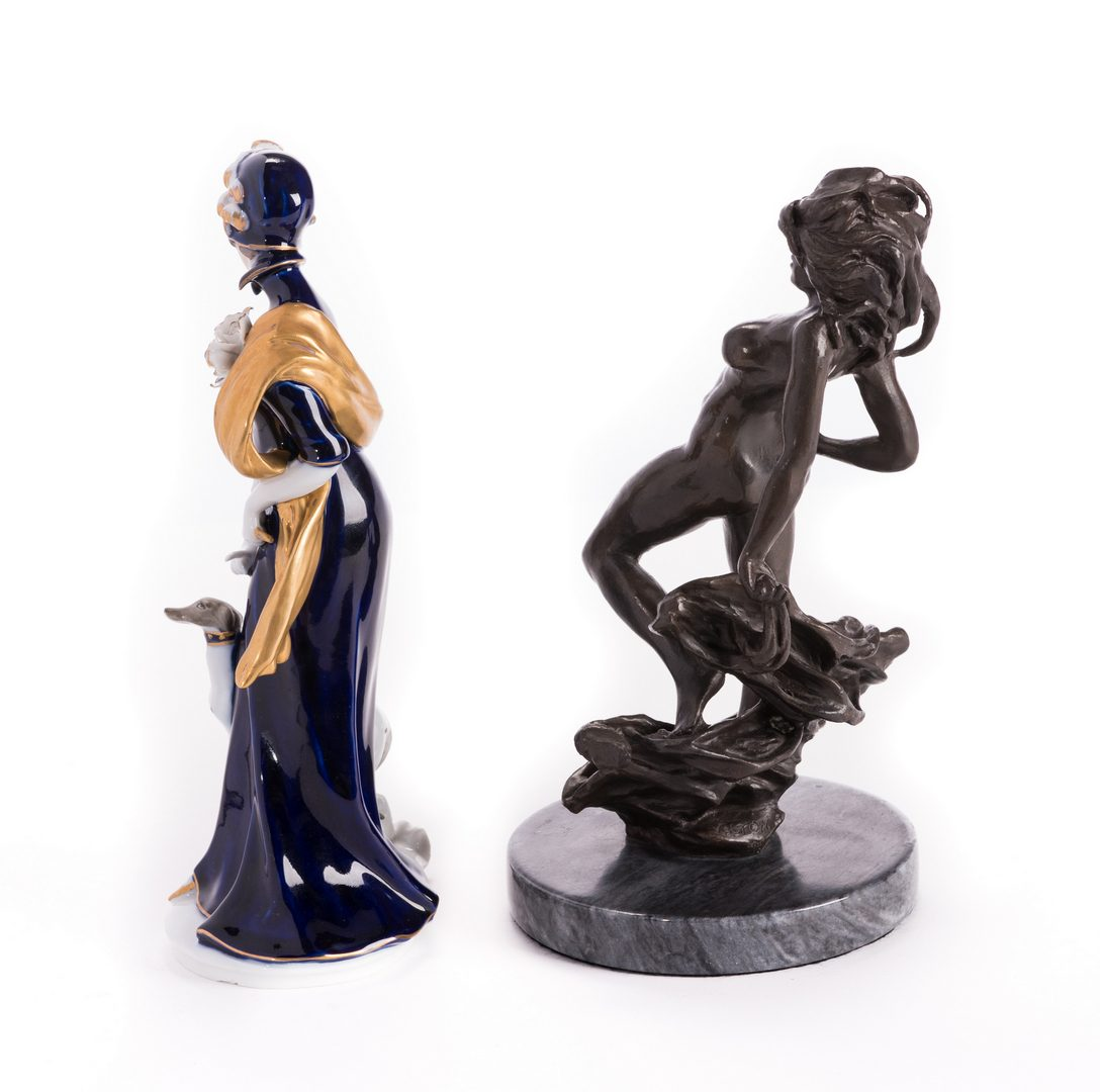 Lot 185: 2 Continenetal  Female Figures, Bronze & Porcelain