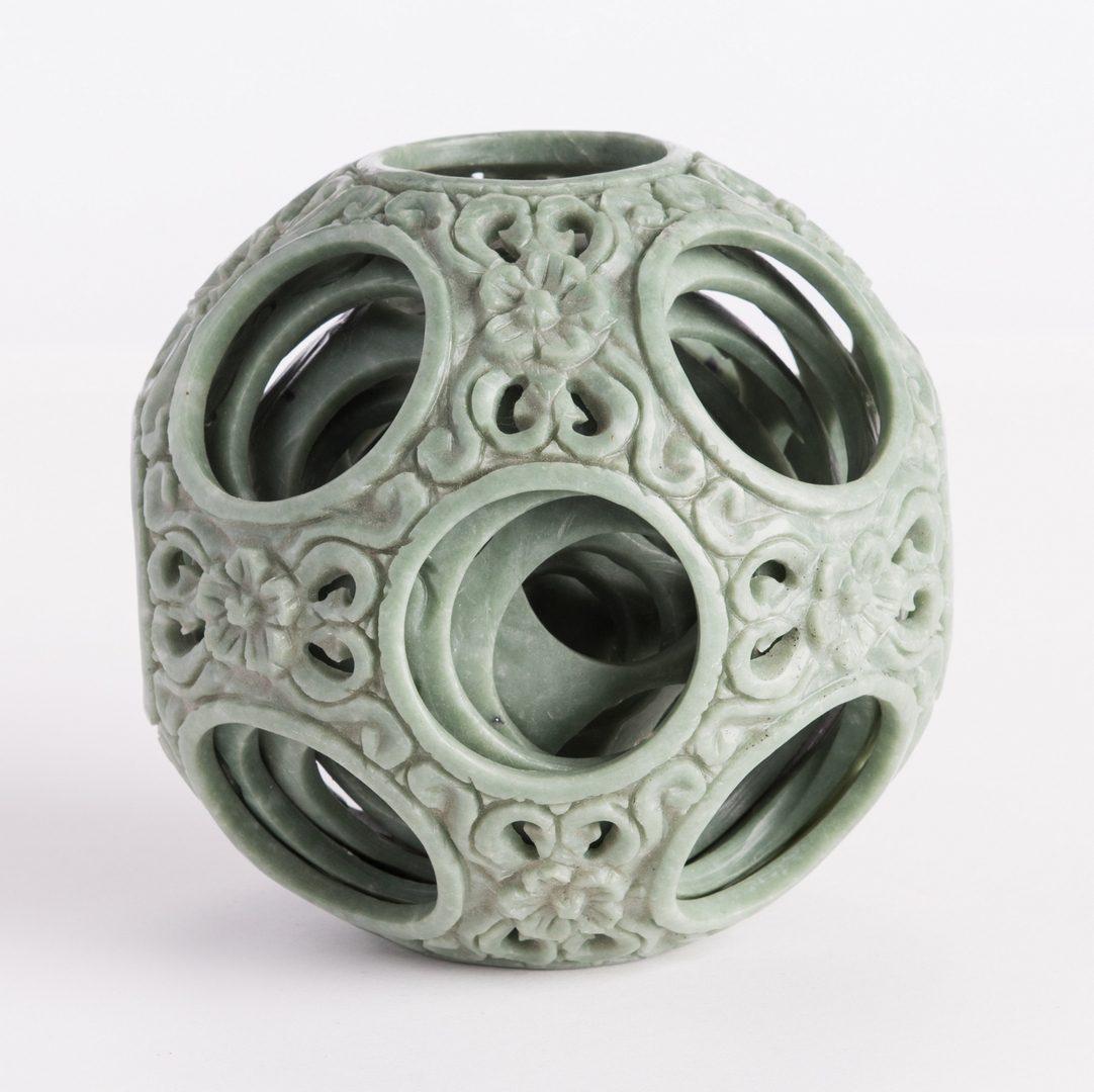 Lot 188: Hardstone Puzzle Ball, Cabinet & Box
