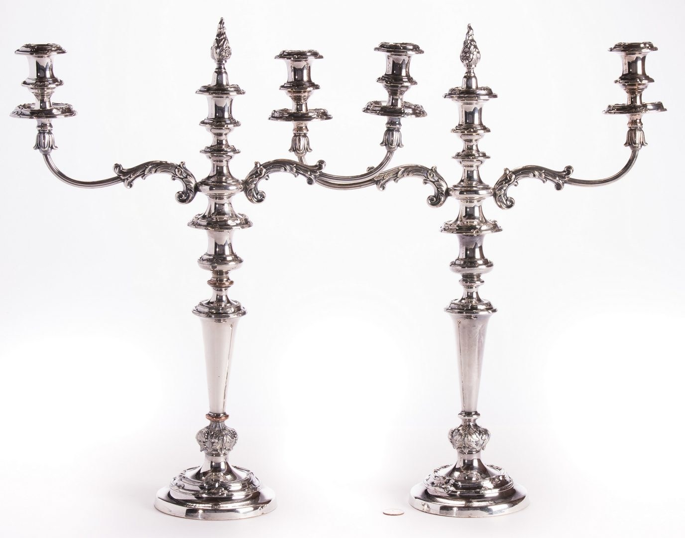 Lot 28: Pair Sheffield Plated Candelabras