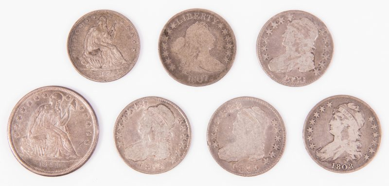 Lot 31: 1859 – O  $1 US Seated  Liberty & 6 Early US Liberty Half Silver Dollars
