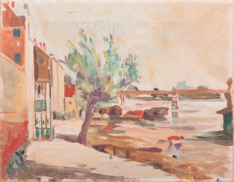 Lot 37: Signed Doyly-John Riverfront Scene, Oil on Canvas
