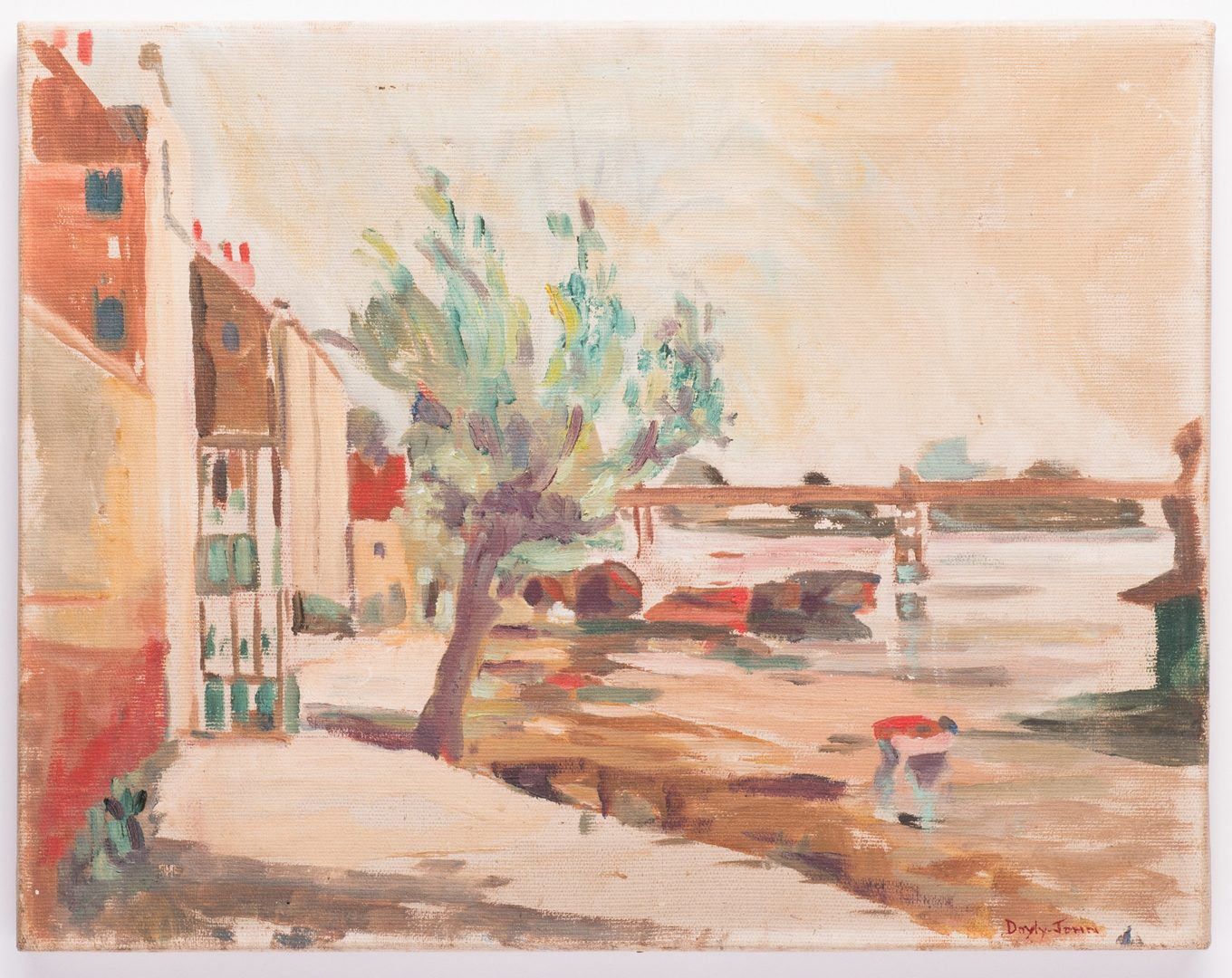 Lot 37: Signed Doyly-John Riverfront Scene, Oil on Canvas