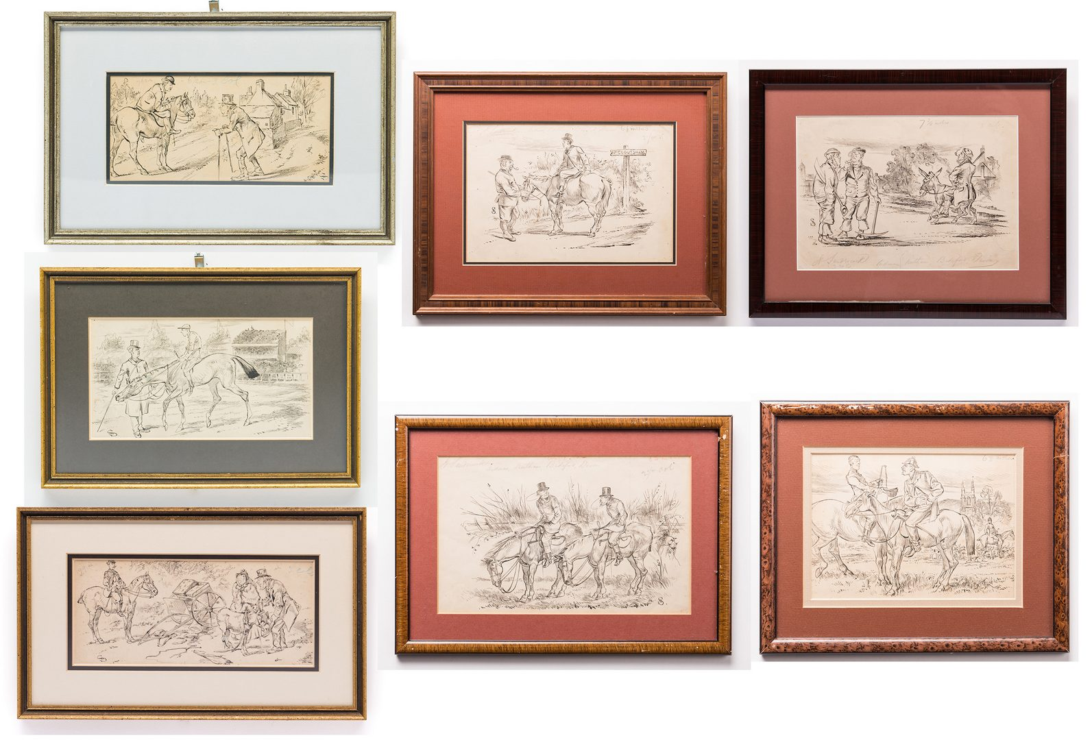 Lot 38: 7 Henry Ardmore Sandercock Ink Drawings, Horses and Donkeys