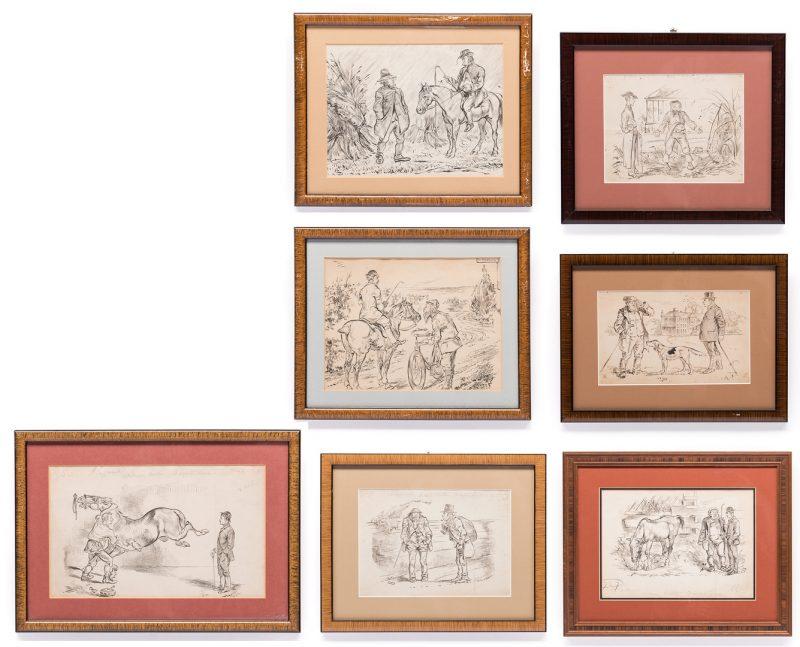 Lot 39: 7 Henry Ardmore Sandercock Rural Ink Drawings