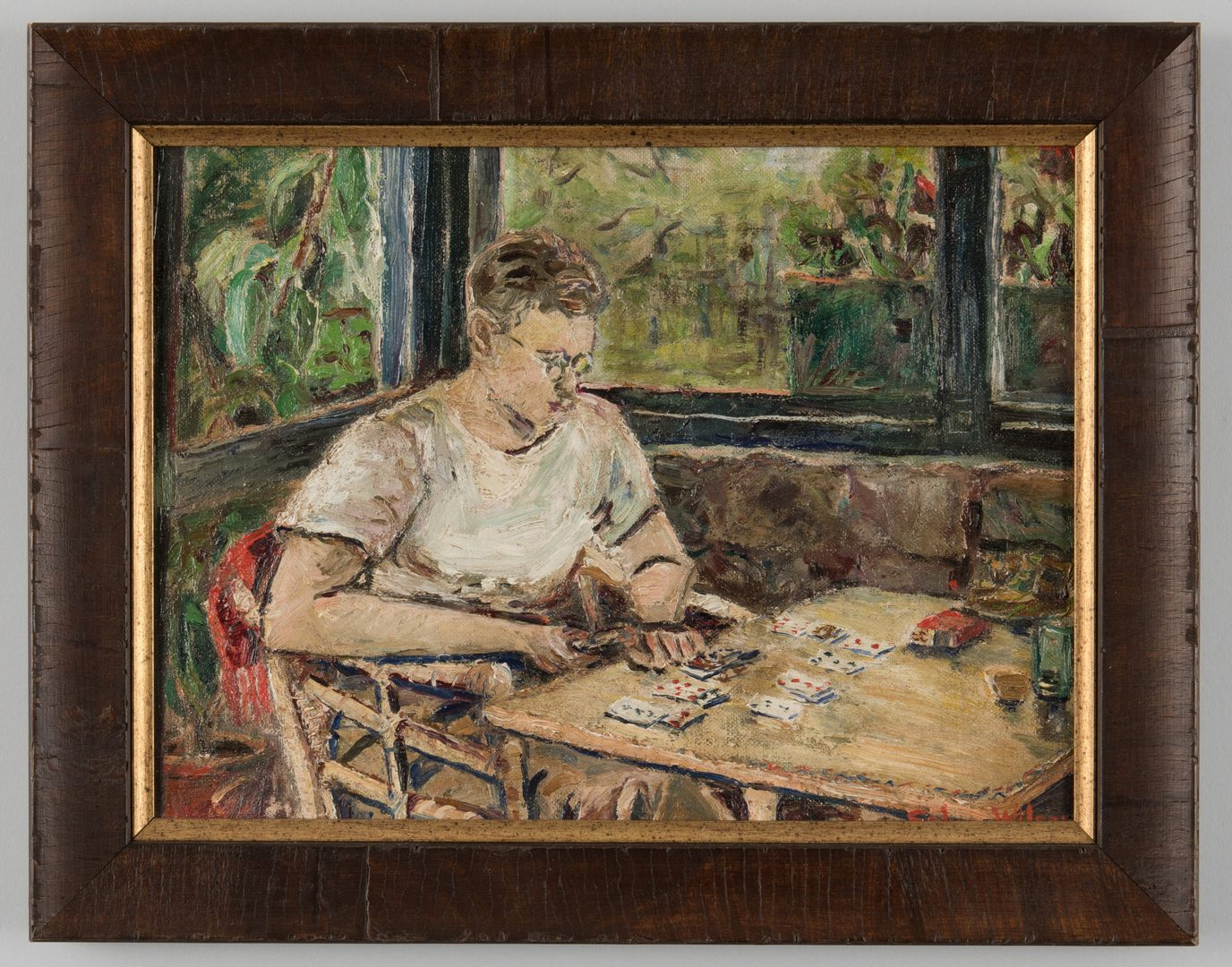 Lot 40: Selma Wilson O/C, Playing Solitaire