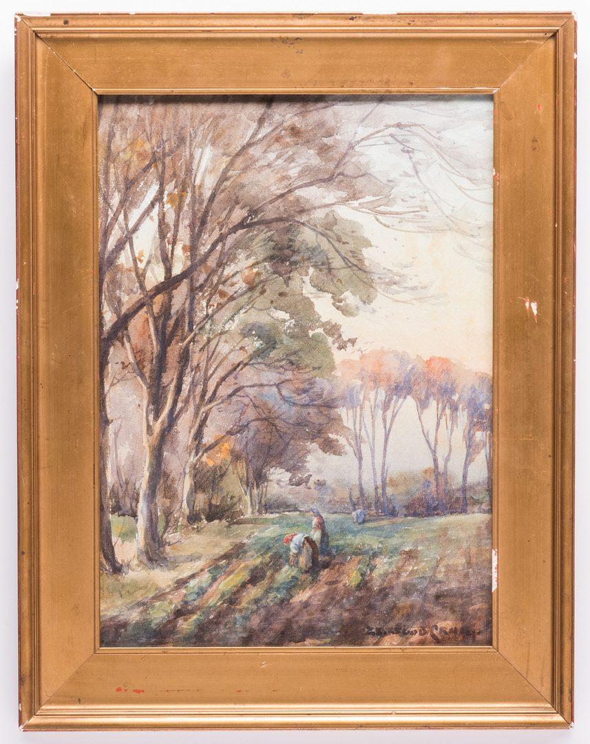 Lot 48: Signed European Watercolor Landscape