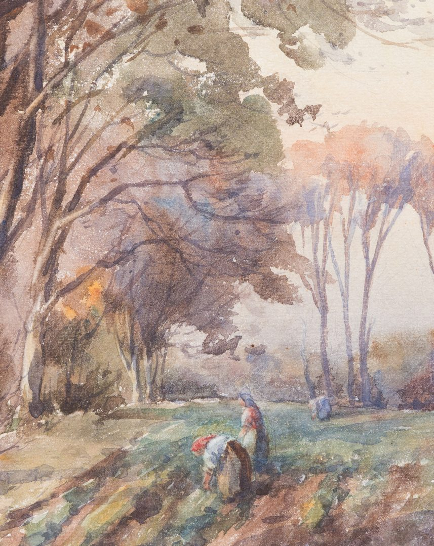 Lot 48: Signed European Watercolor Landscape
