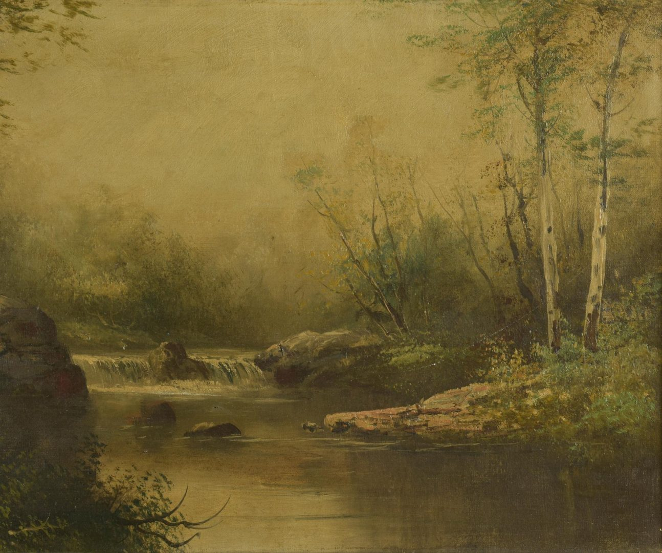 Lot 50: Landscape, O/C, possibly after Alfred R. Mitchell