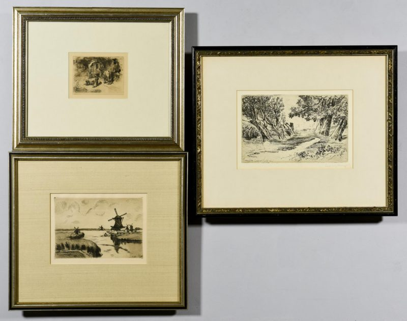 Lot 56: 3 European prints incl. Buhot, Haden