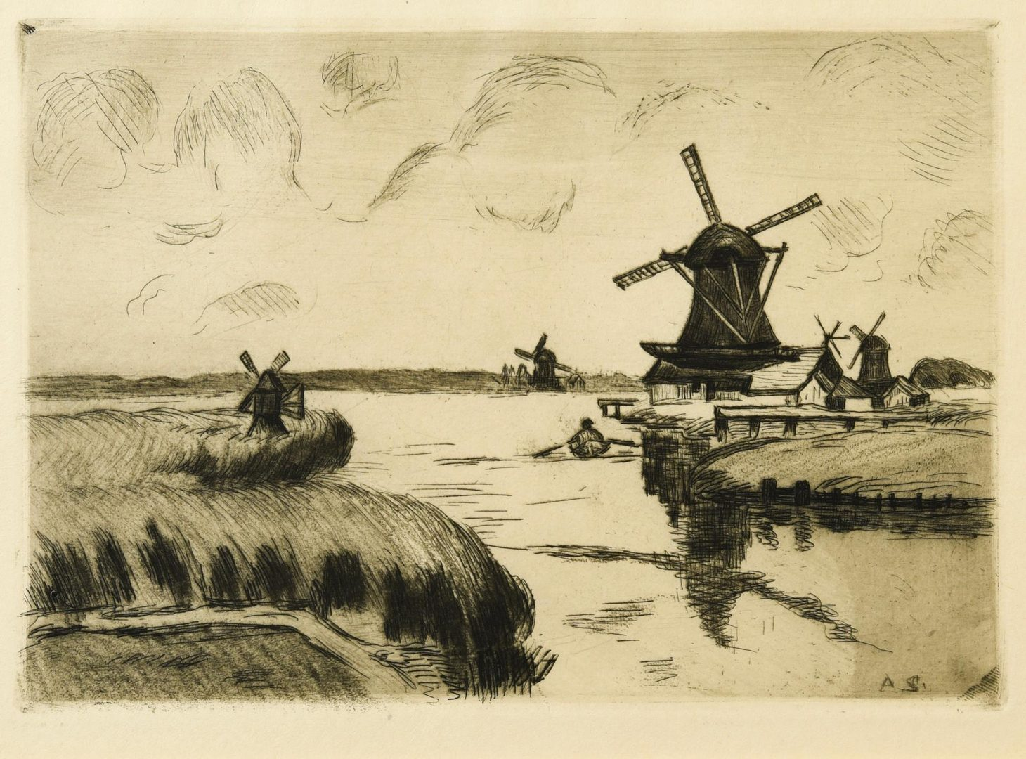 Lot 56: 3 European prints incl. Buhot, Haden