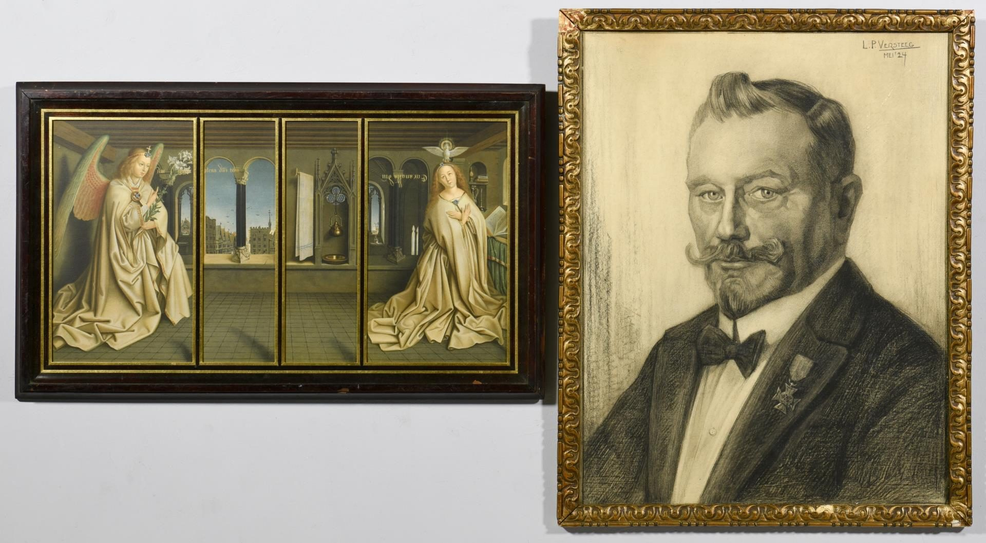 Lot 57: Versteeg Charcoal Portrait & Annunciation Litho