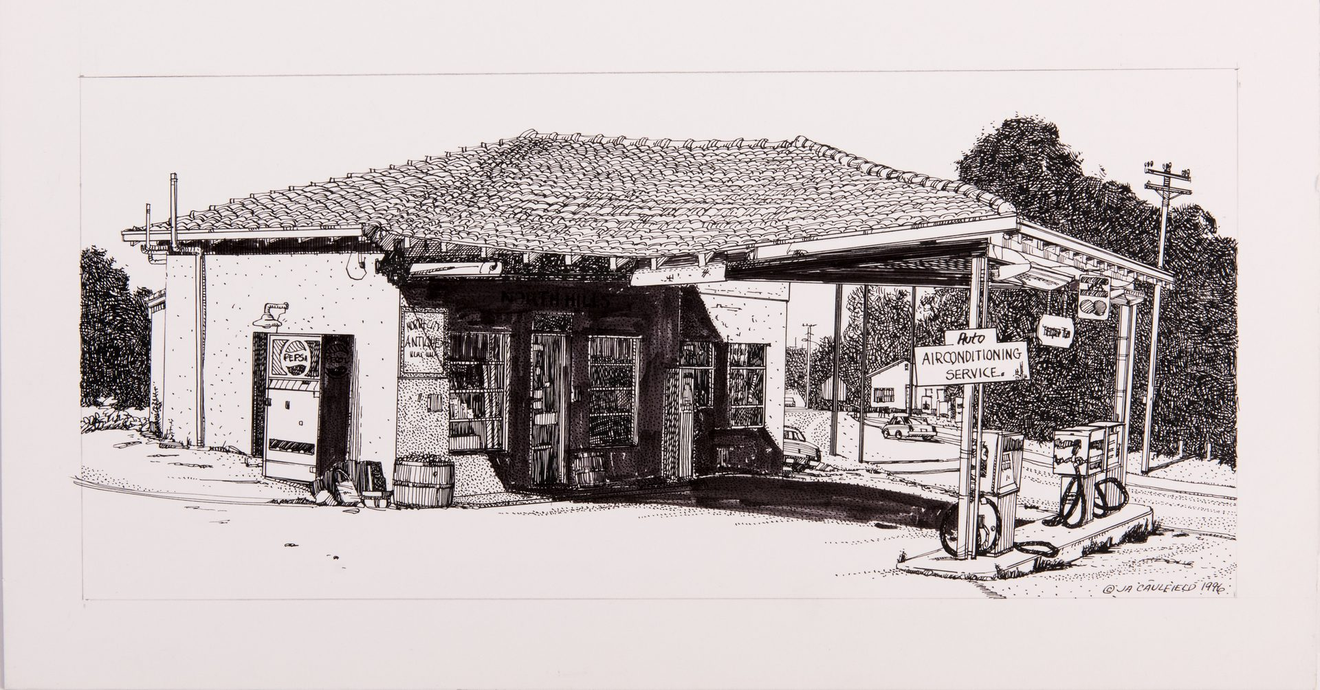 Lot 63: James Caulfield Ink Drawings Vintage Roadside Businesses