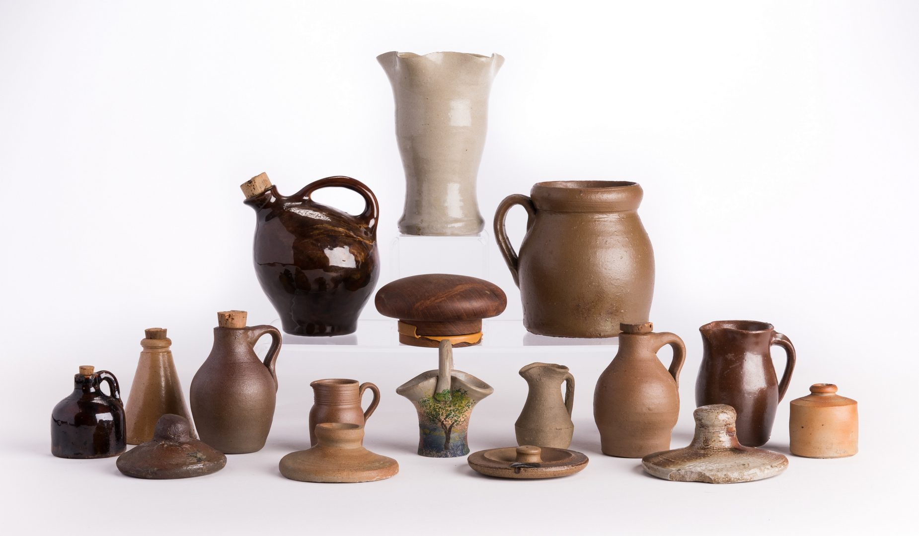 Lot 68: Group 11 Pottery Items, incl. Middle TN Miniatures, plus 1