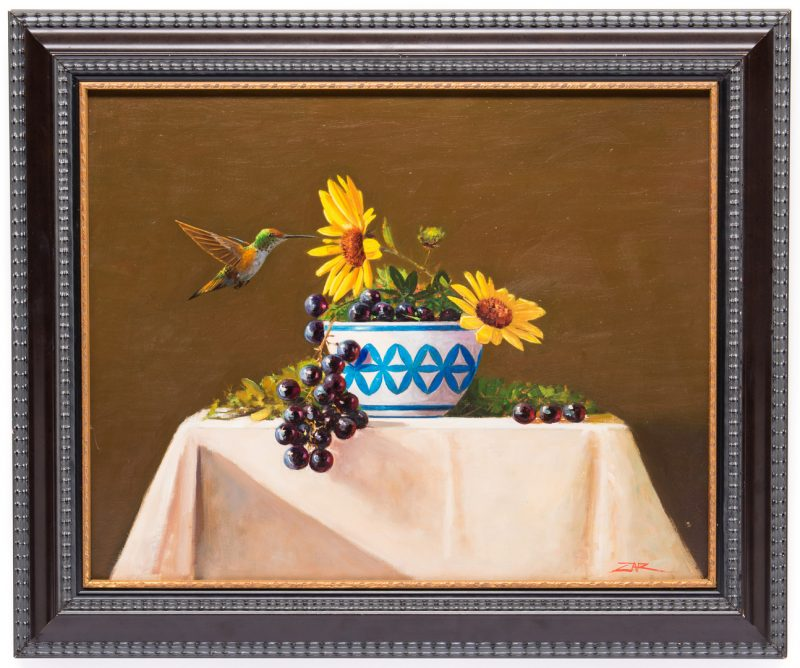 Lot 6: James Zar, Still Life with Hummingbird
