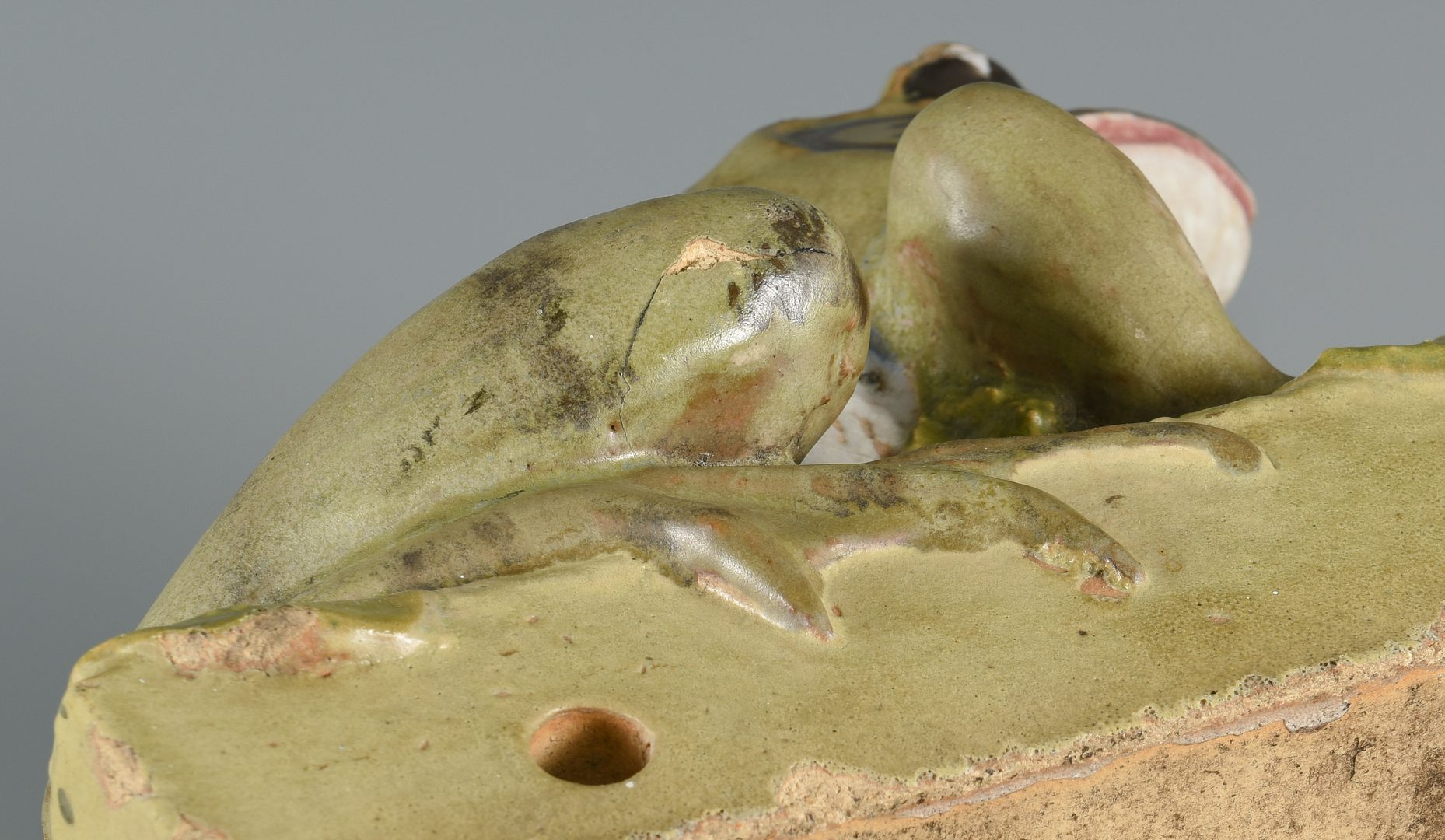 Lot 72: Large Glazed Weller Type Art Pottery Frog