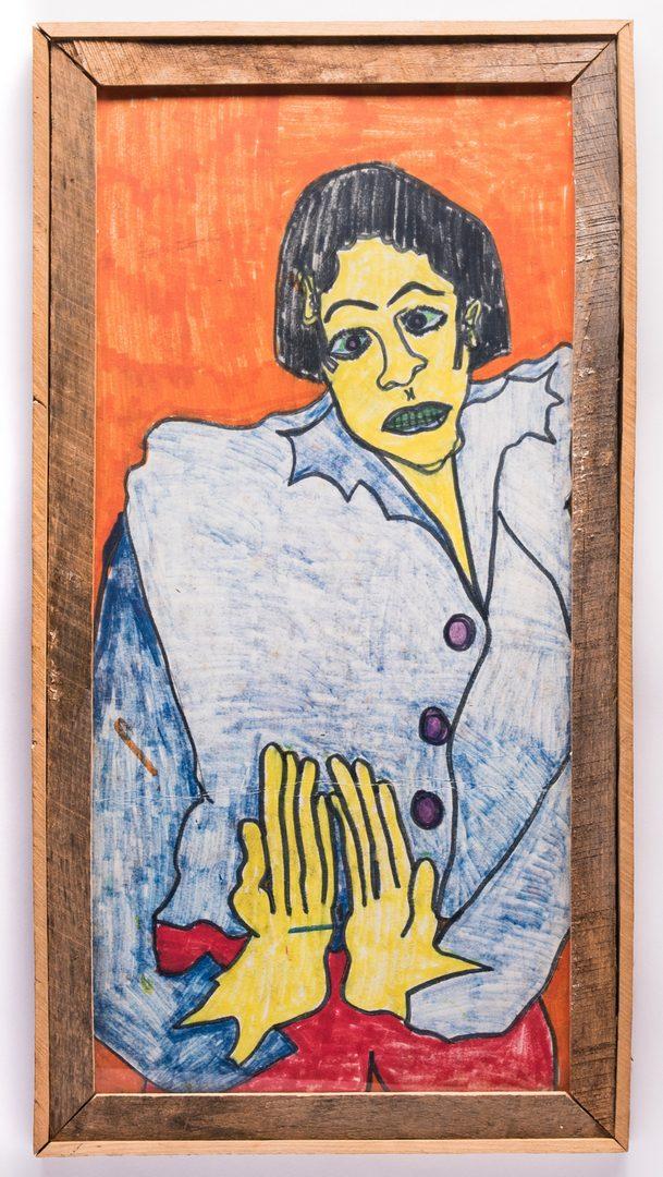 Lot 75: Ike Morgan Folk Art Portrait