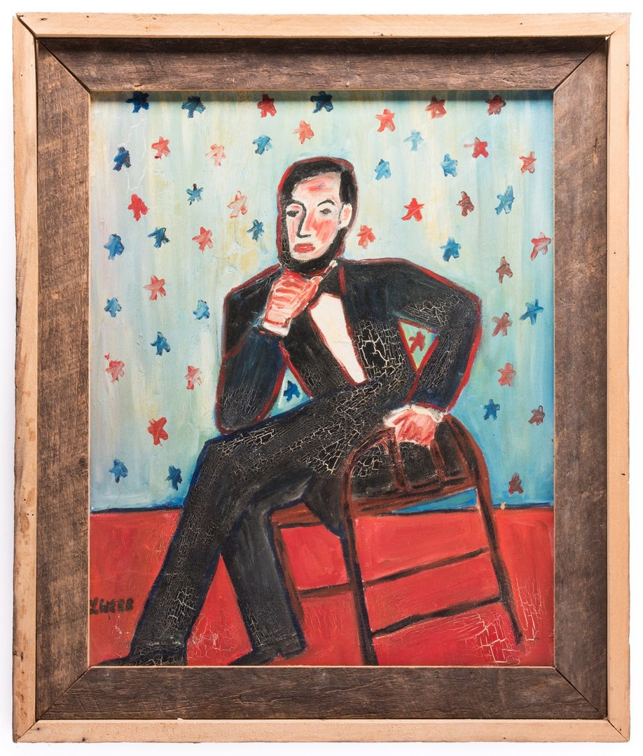 Lot 77: L. Webb Folk Art Lincoln Portrait