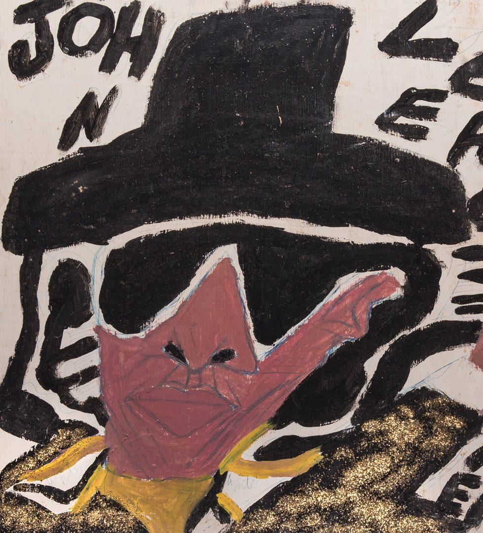 Lot 79: Double sided Chuckie Williams Oil on Board, Folk Art