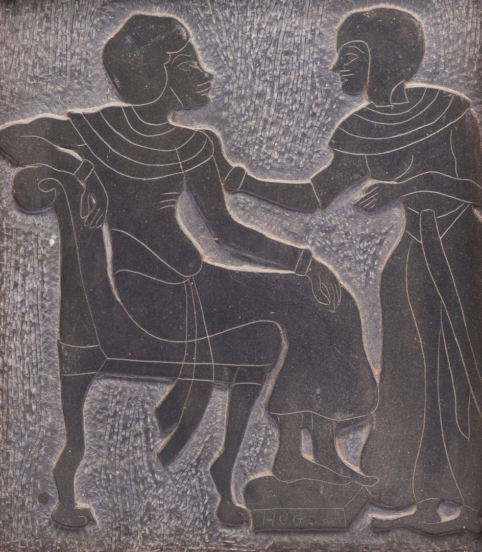 Lot 80: Folk Art Carving On Slate, signed Hugo