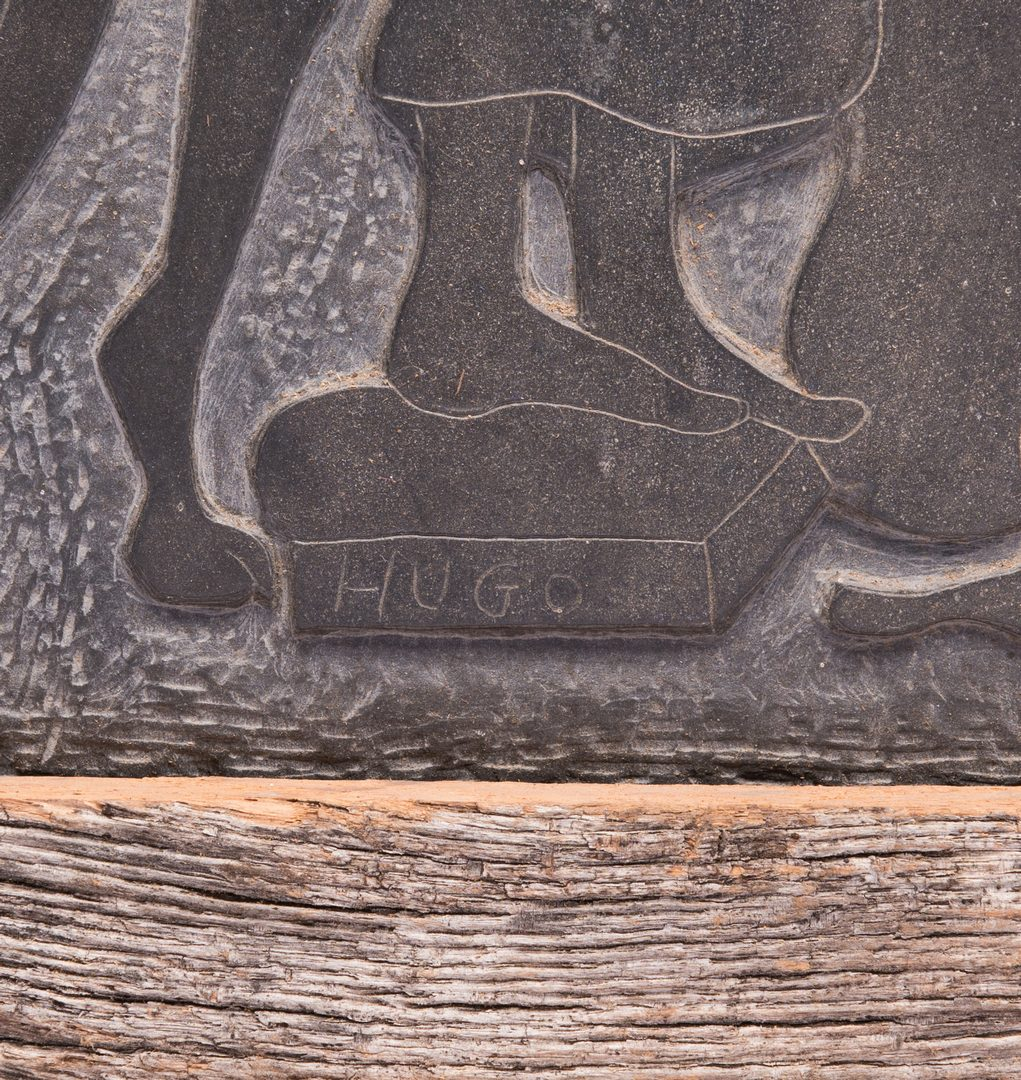 Lot 80: Folk Art Carving On Slate, signed Hugo