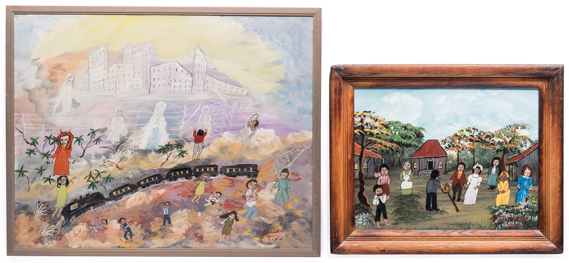 Lot 83: 2 Priscilla Cassidy Folk Art Paintings