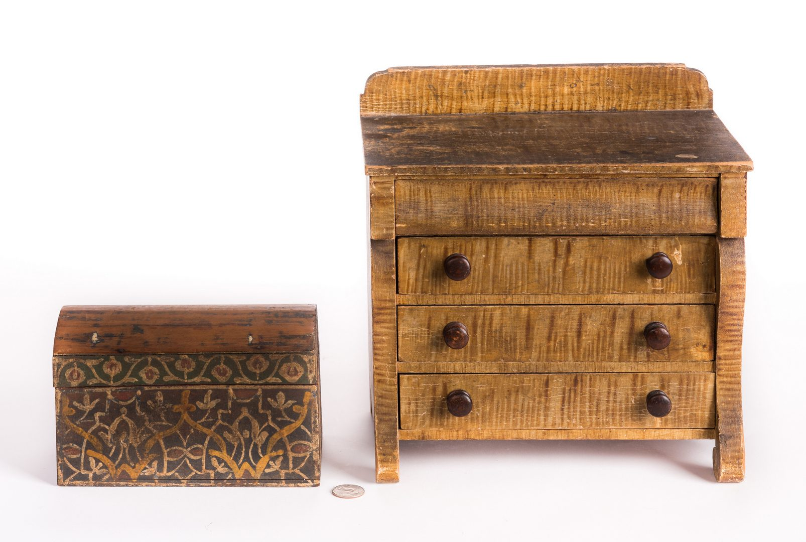 Lot 93: Painted Dome Box & Minature Empire Chest