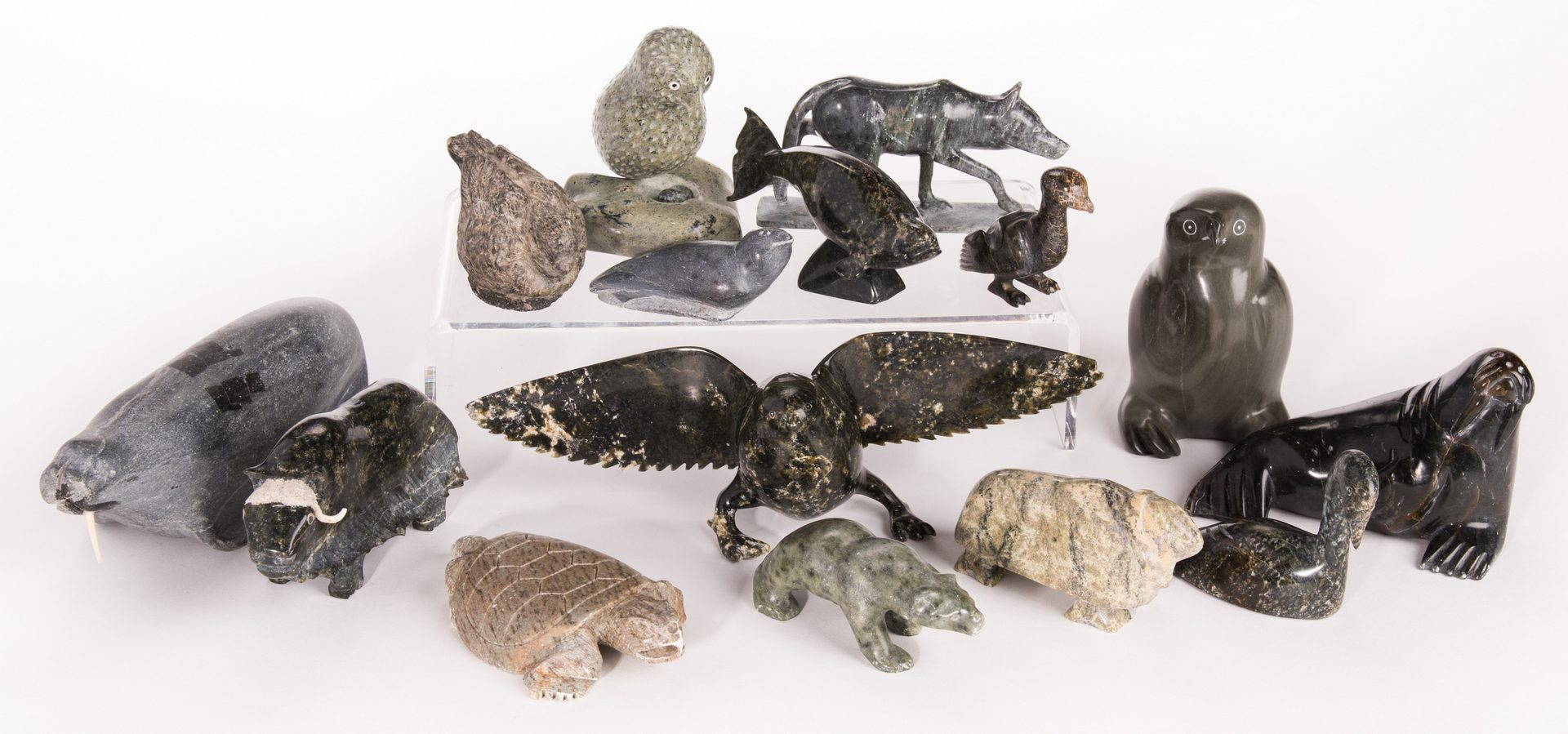 Lot 96: 15 Inuit Stone Carvings, inc. Pootoogook, General, Utye