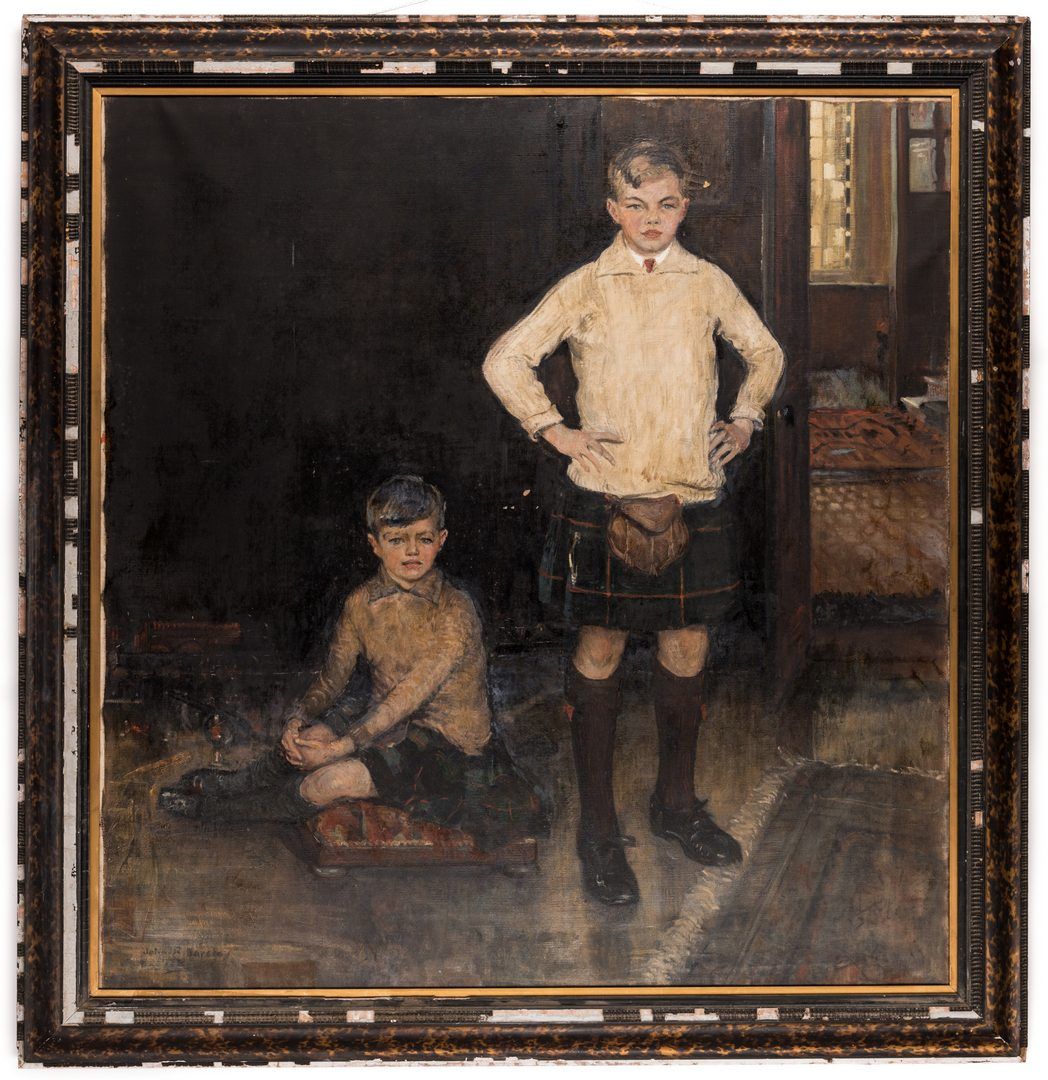 Lot 101: John Rankin Barclay Portrait of 2 Boys in Kilts