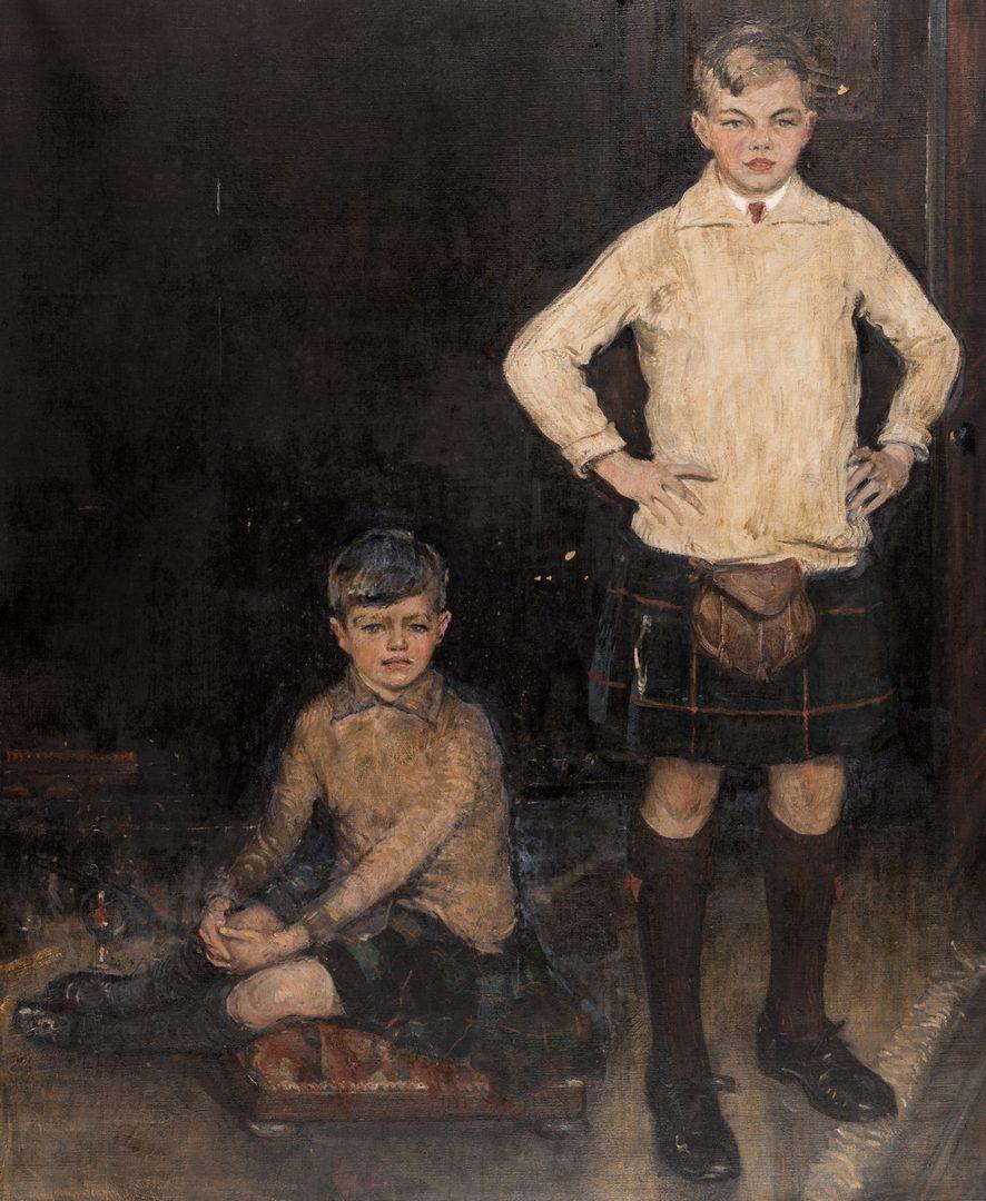 Lot 101: John Rankin Barclay Portrait of 2 Boys in Kilts