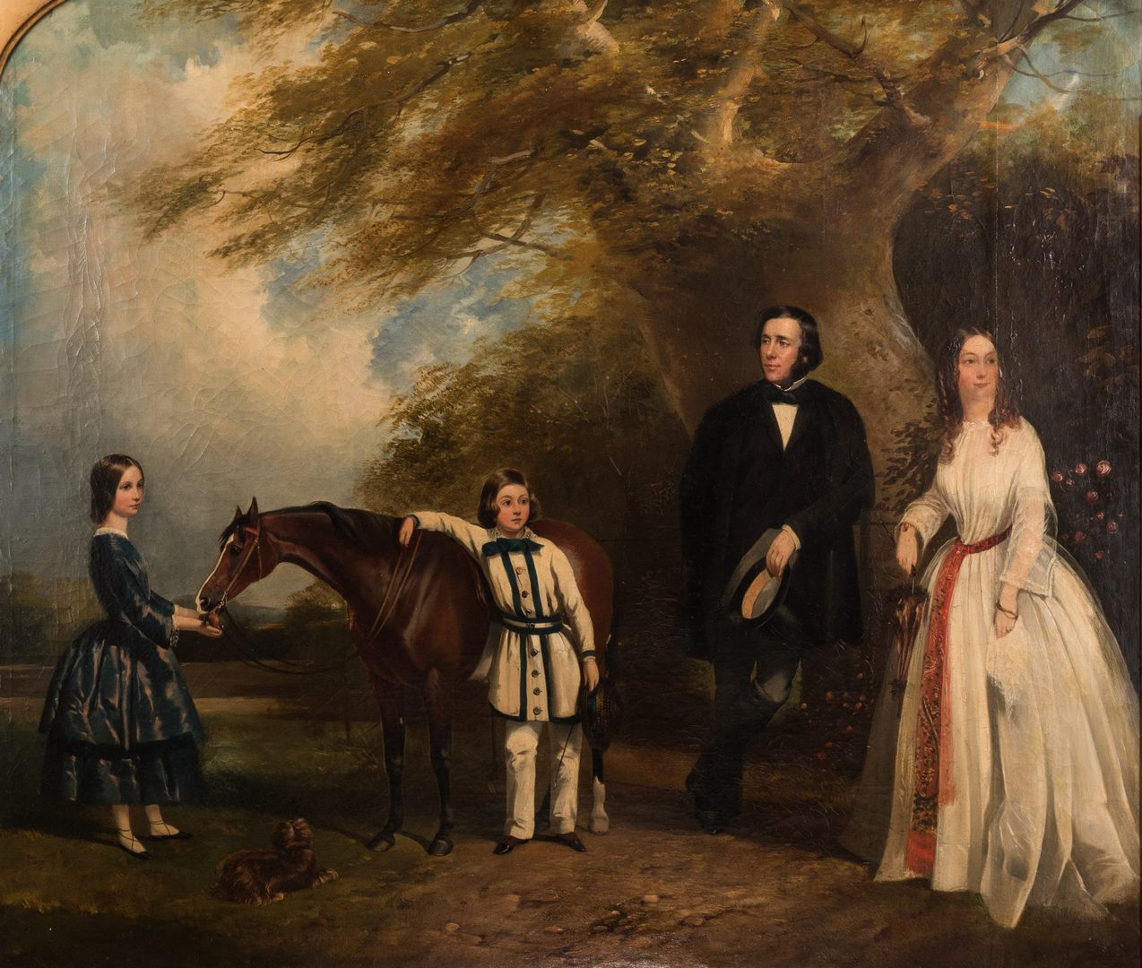 Lot 105: Portrait of a Family with Dog and Pony, circa 1845