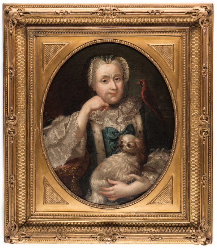 Lot 106: 18th c. Portrait, Lady w/ Spaniel & Bird