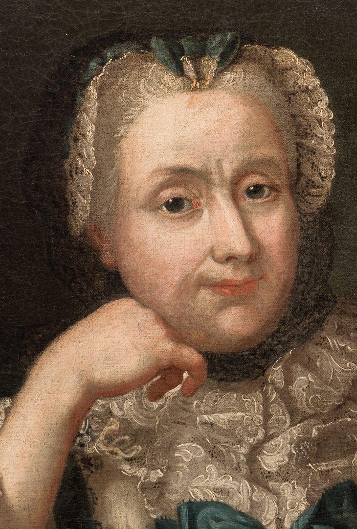 Lot 106: 18th c. Portrait, Lady w/ Spaniel & Bird