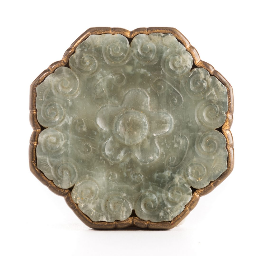 Lot 10: Chinese Jade and Gilt Brass Belt Ornament