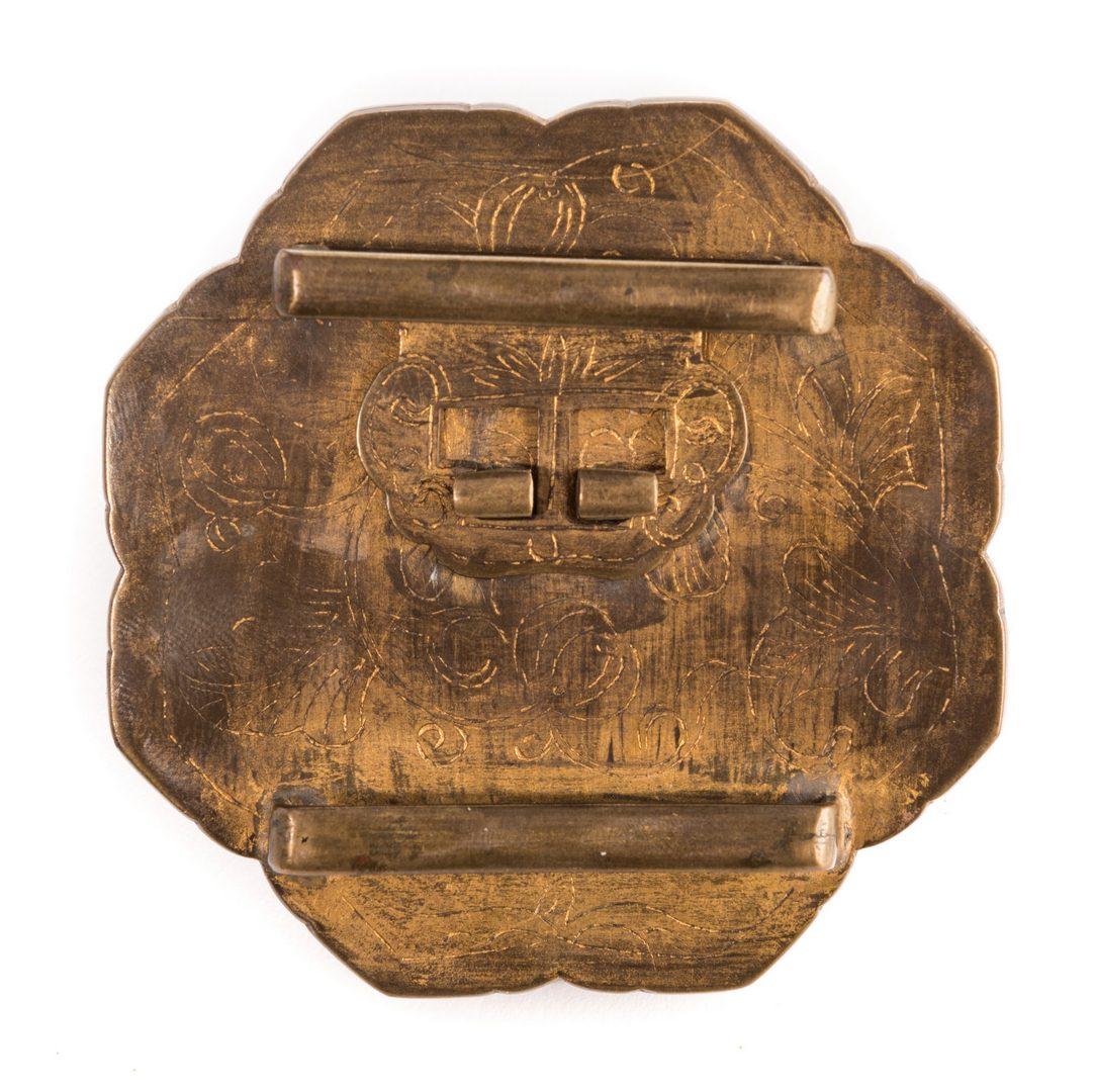 Lot 10: Chinese Jade and Gilt Brass Belt Ornament