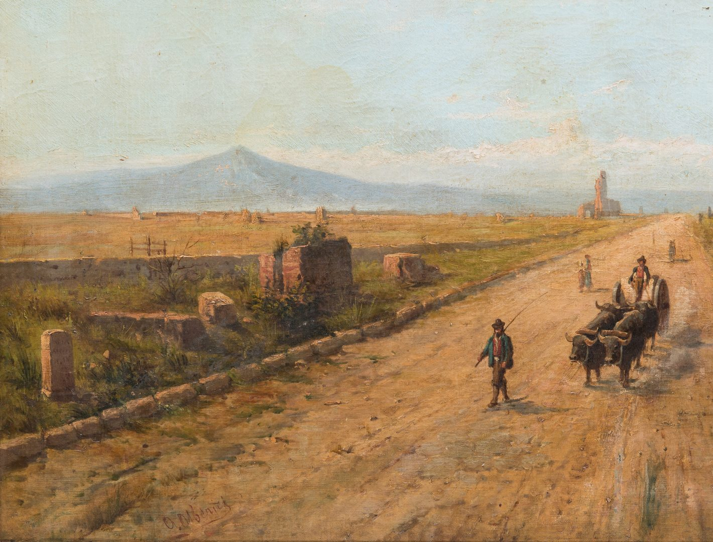 Lot 110: Signed Orientalist Landscape, Road to Damascus