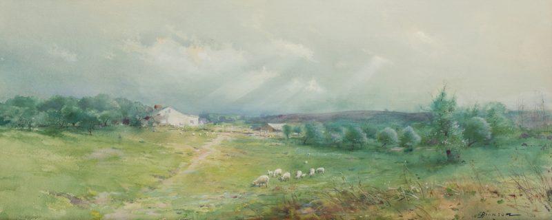 Lot 122: Lloyd Branson Panoramic East TN Farm Scene, Watercolor
