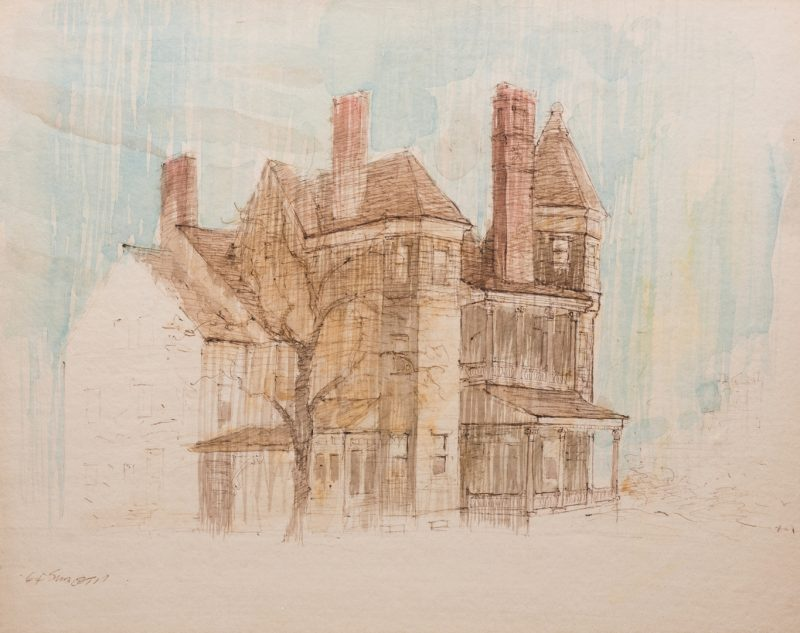 "Lot 124: Carl Sublett Watercolor, ""Van Deventer Home"""
