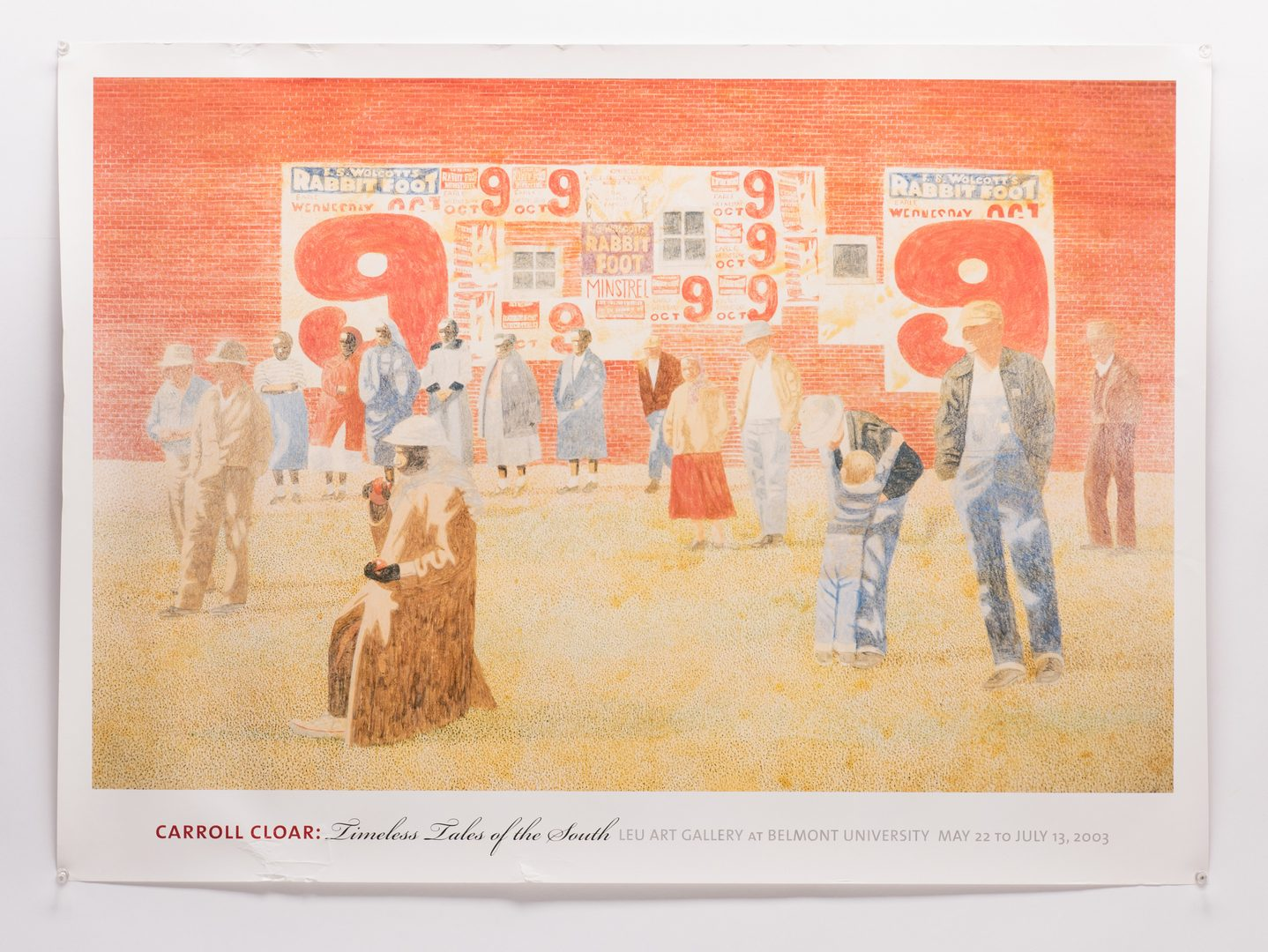 Lot 127: Carroll Cloar painting, The Waiting, with sketch and poster