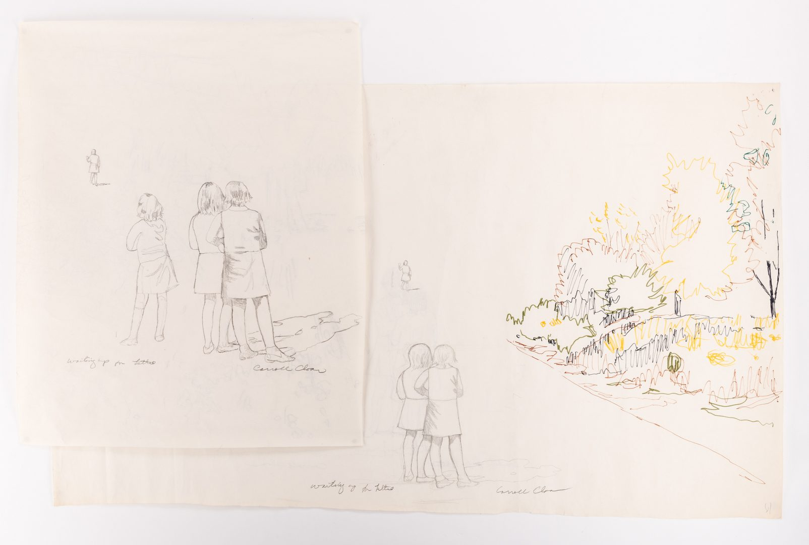 Lot 128: 2 Carroll Cloar Drawings, Waiting Up for Lettie